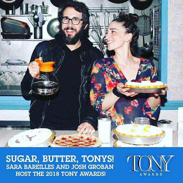 this is a good idea . #tonys #sarabareilles #joshgroban #hostswiththemost #tonyspie #broadway #favorites #notabadidea . 📷: @waitressmusical