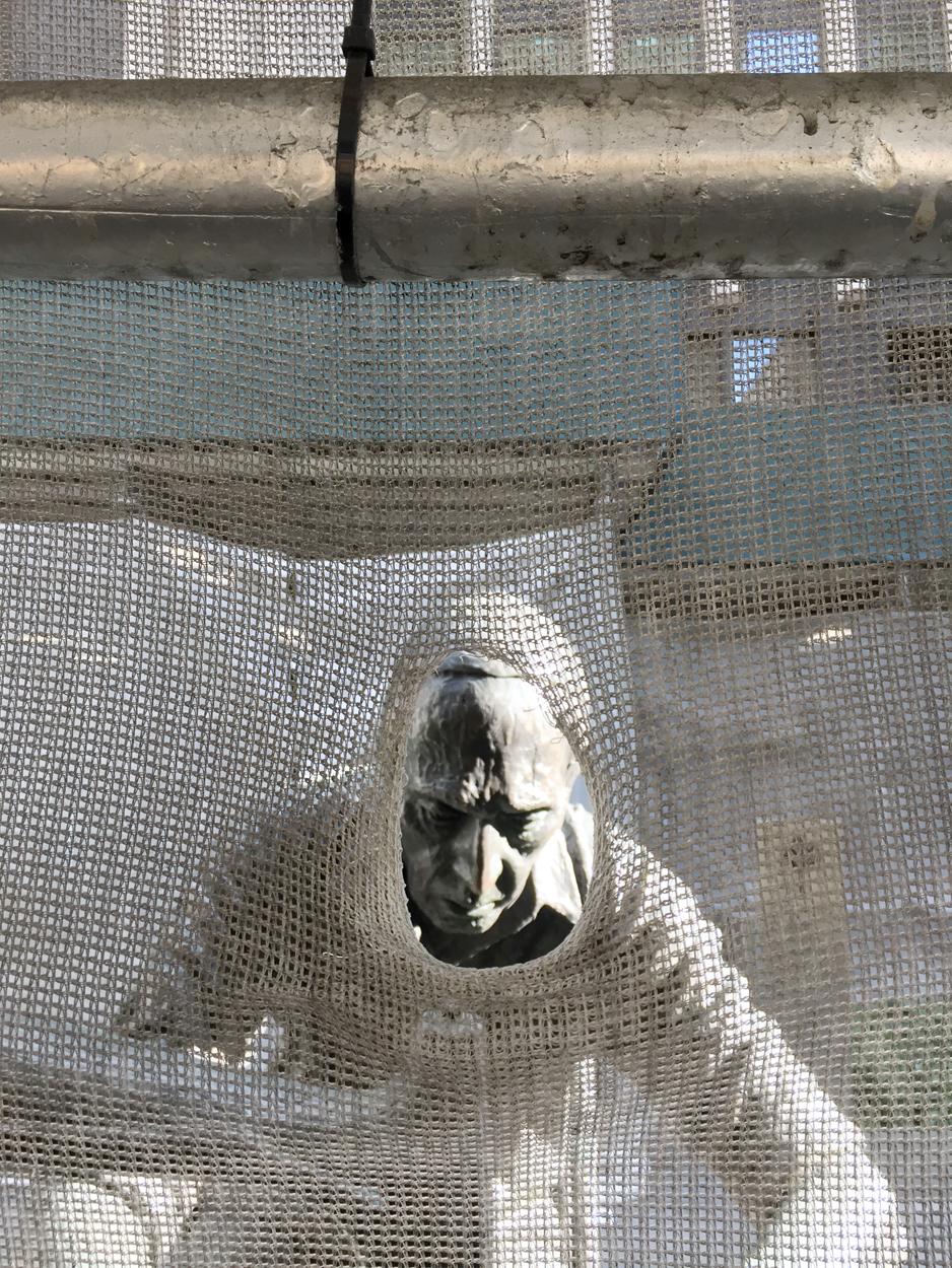 Garment Worker, sculpture by Judith Weller