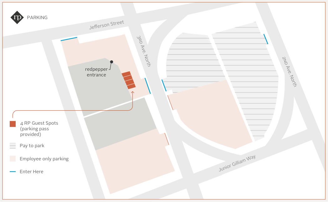 Parking Map - When you arrive, park in any of the orange lots around our building (please don't use the guest spots). You'll get a parking pass when you check in that you can leave on your dashboard for the duration of your internship.