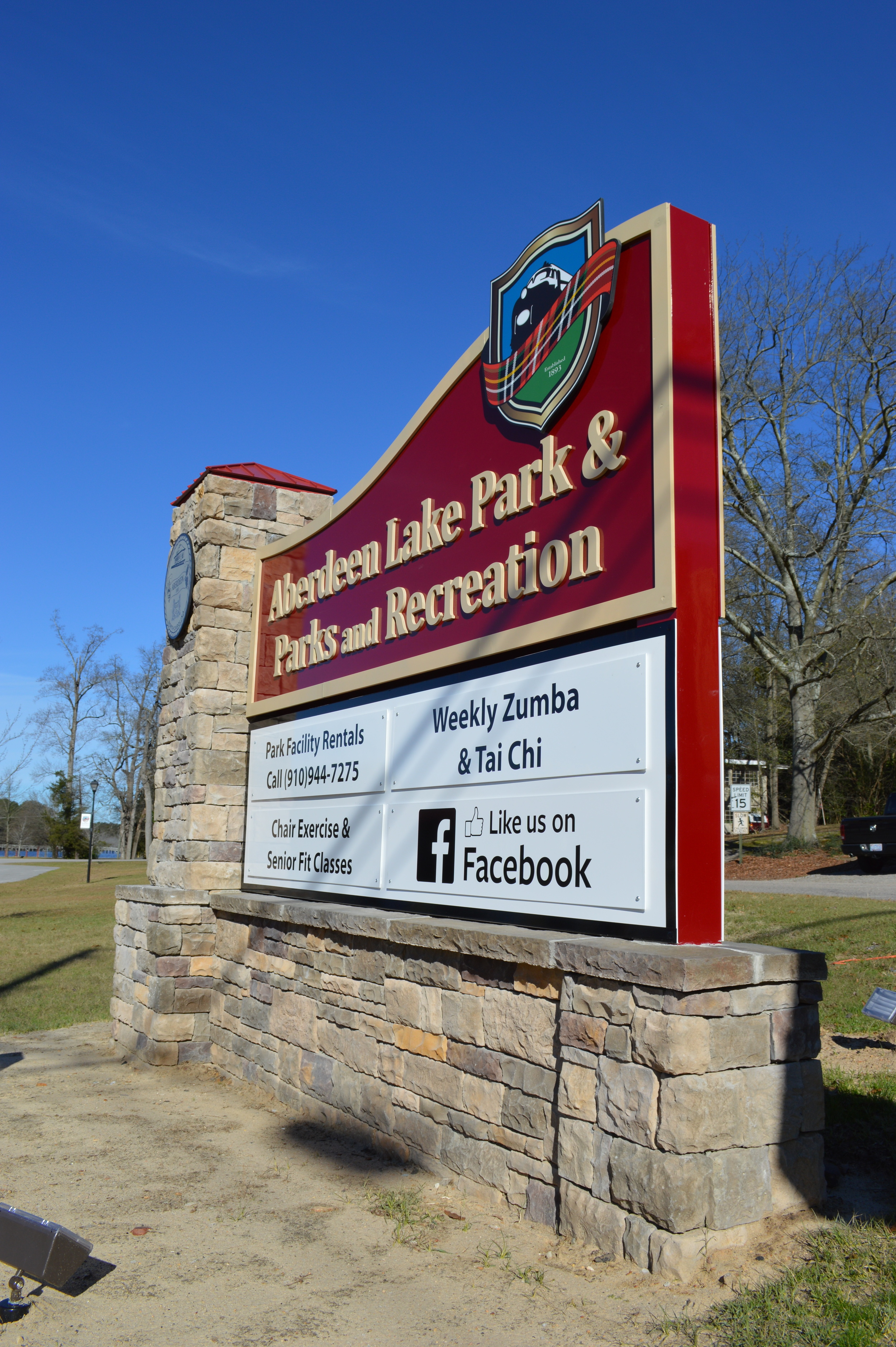 Custom Parks & Rec signage to complement town's sign program.