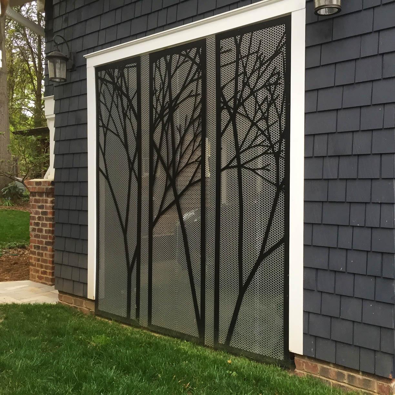 Custom carport screen for residential custom home.