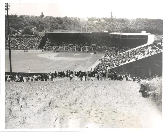 """Sick's Stadium, From East or """"Cheapskate Hill,"""" June 18, 1938 – David Eskenazi Collection"""