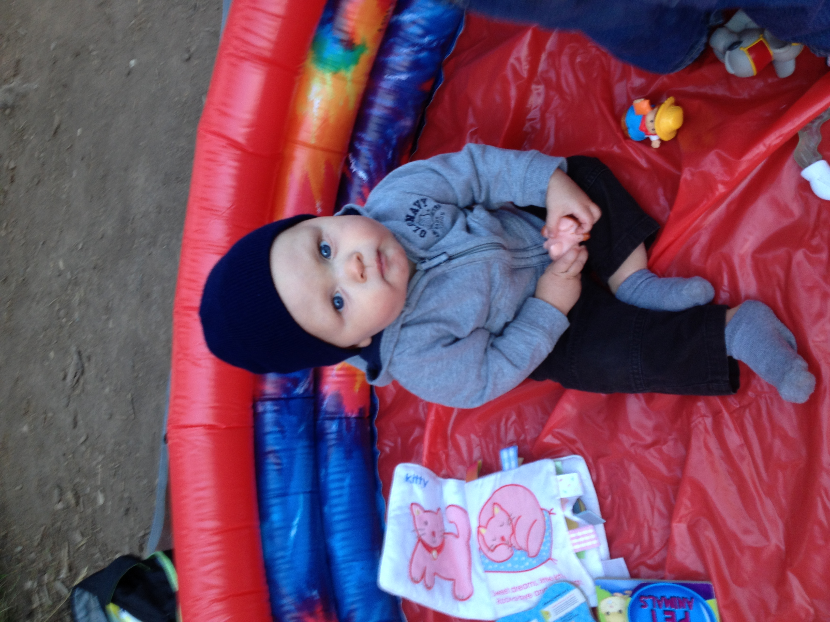 This was his facial expression the entire time in the kiddie pool Laiken had set up as a play pen