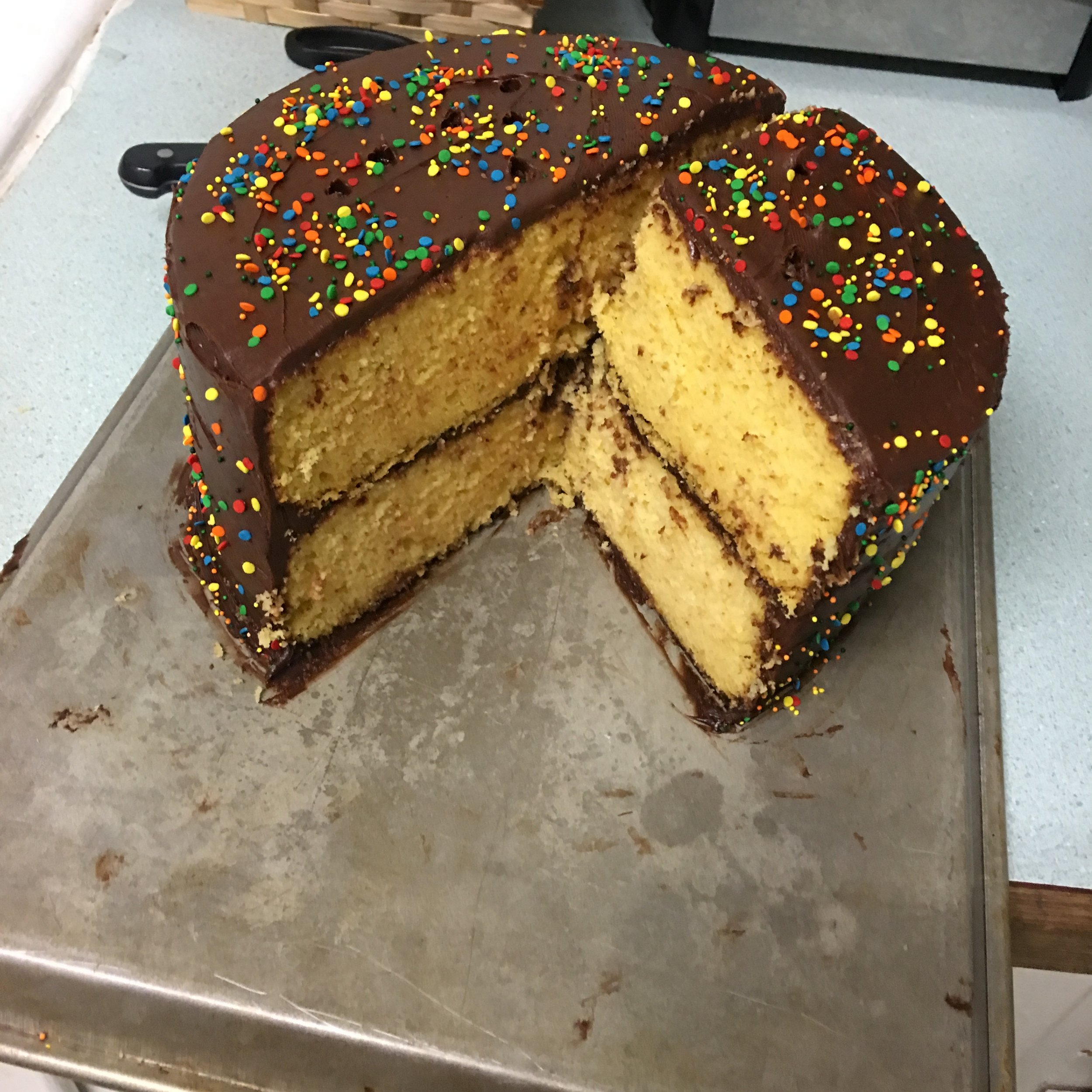 I got ambitious and made a two layered circle cake and it turned out better than I hoped! It was a lot bigger than I expected too :)