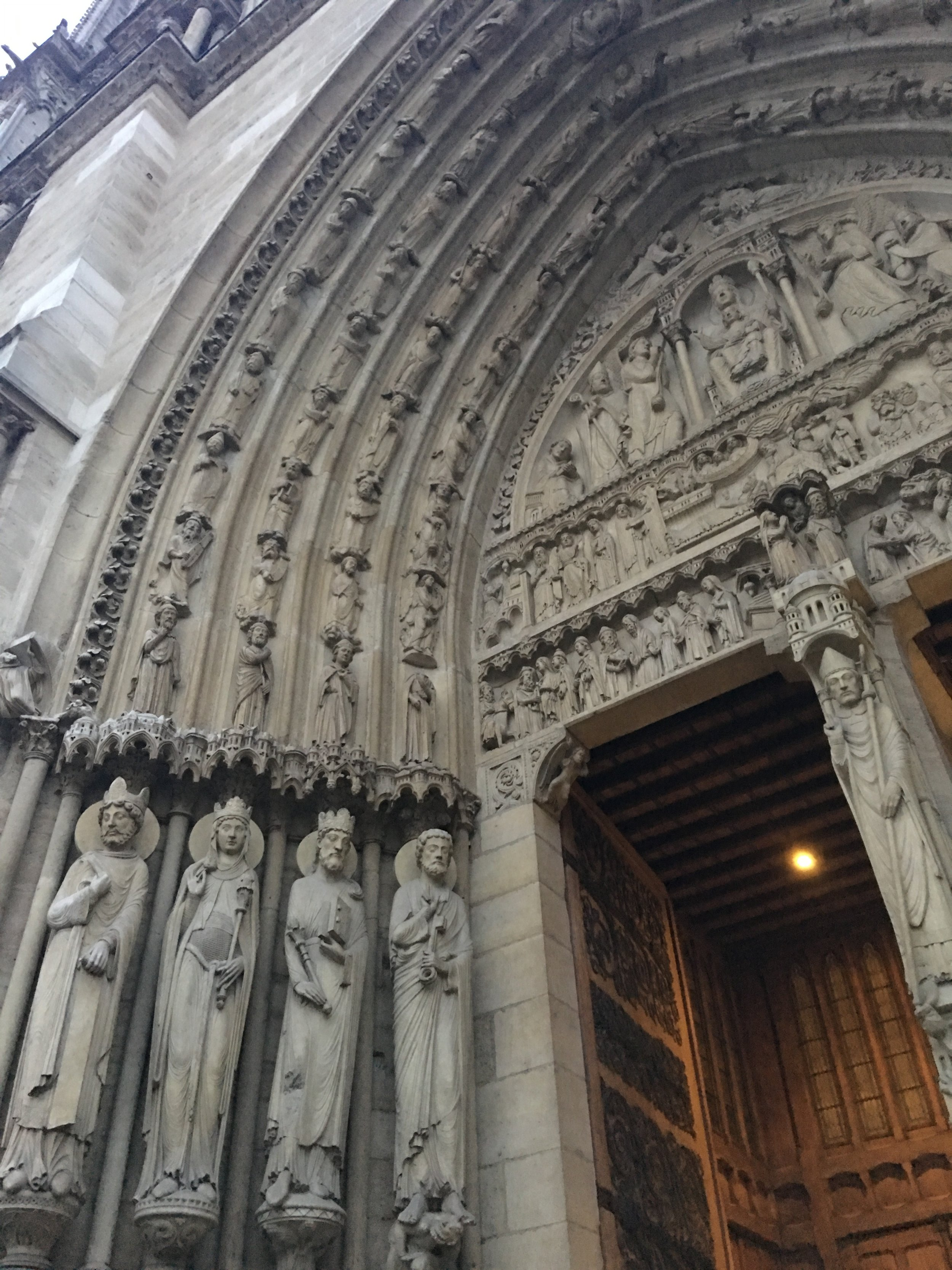 At the entrance of Notre Dame. All of this was hand sculpted, the detail is incredible!