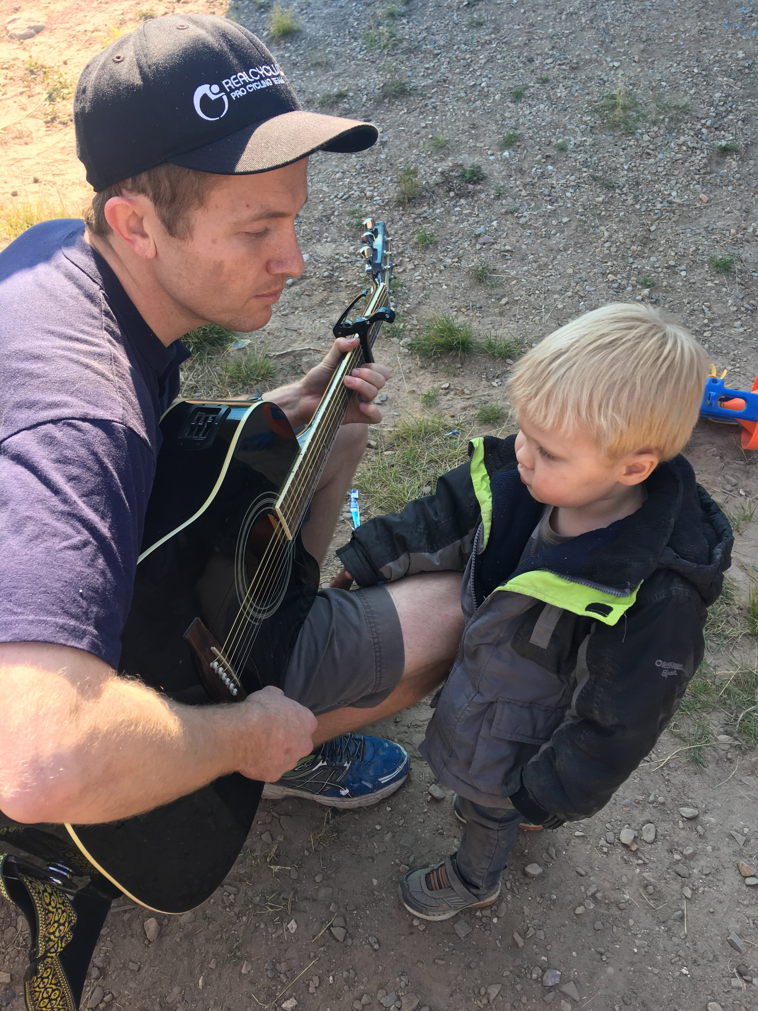 Kyler kept the kids busy by playing some tunes