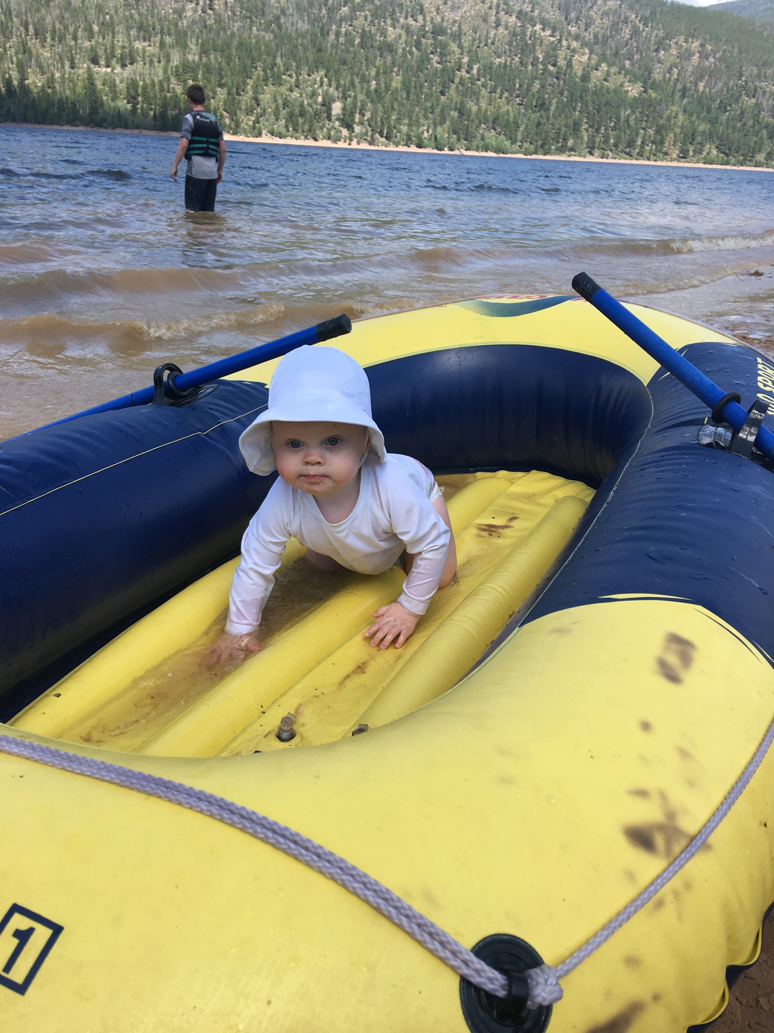 She was all about crawling in the raft