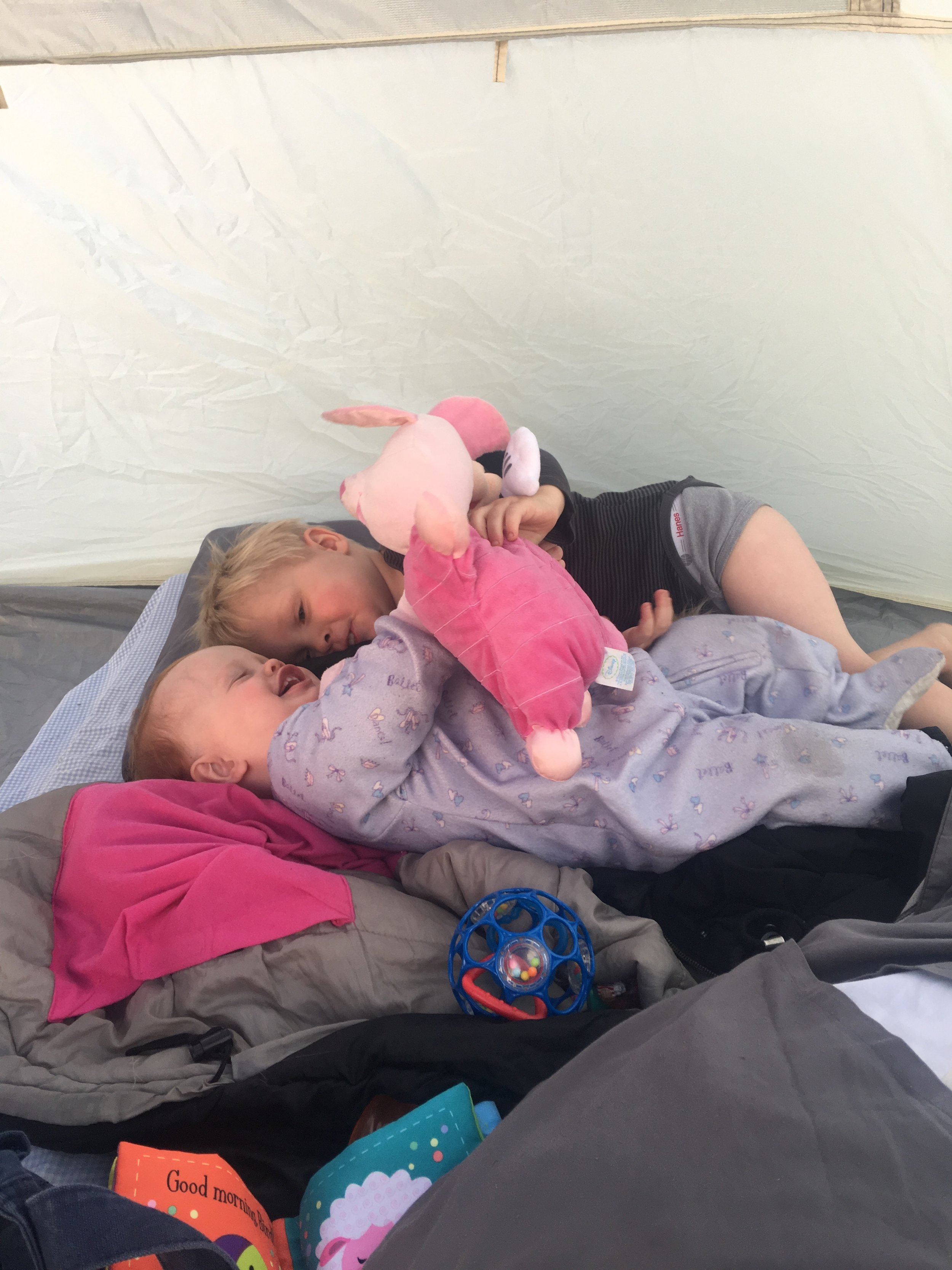 Tickles and giggles in the tent