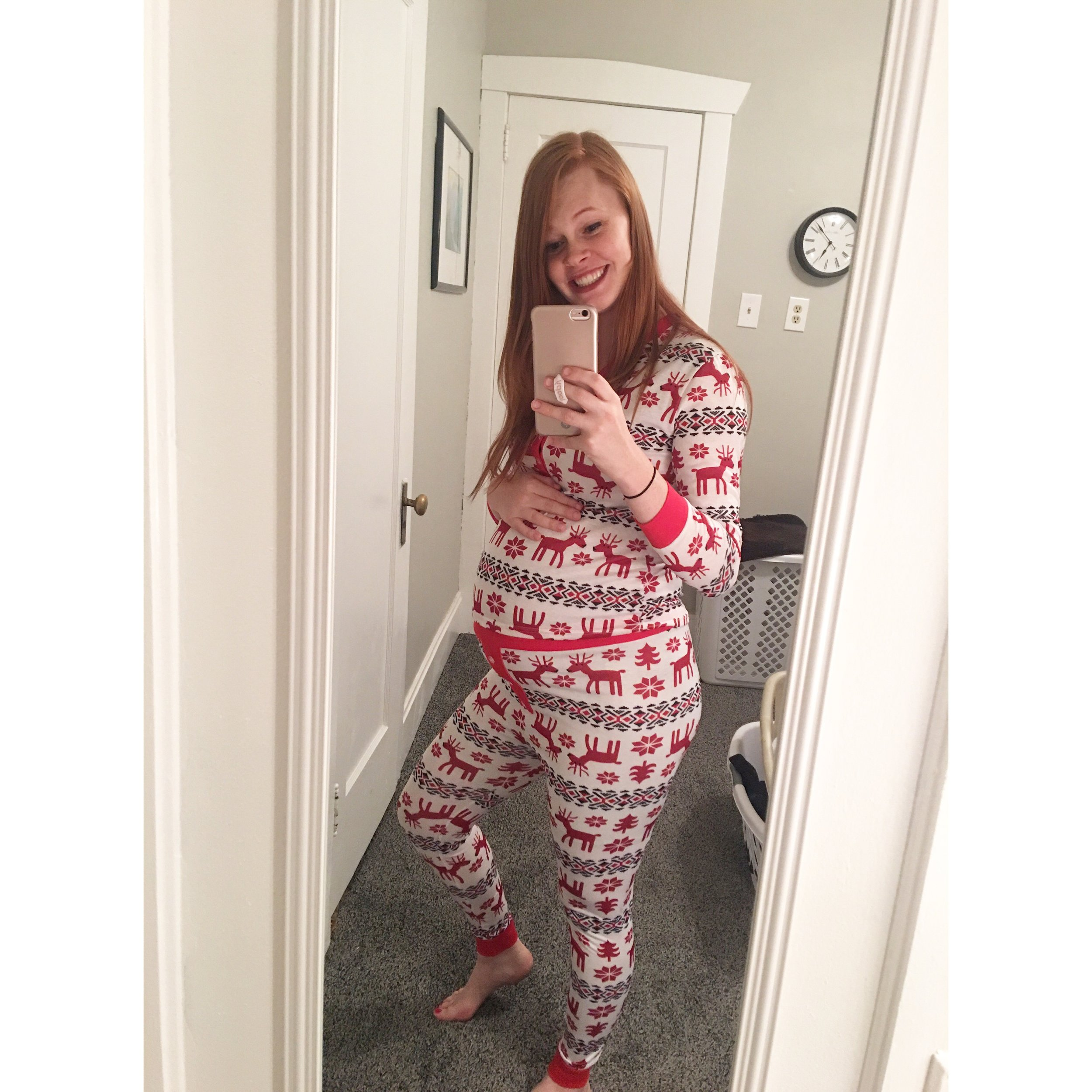Christmas jammies for the win! Even if they don't quite fit over my belly!