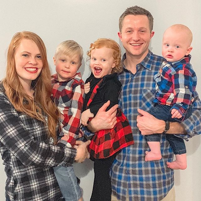 "We ""channeled our flannel"" last night at Grandma Patti and Grandpa Mike's annual Christmas party! Always a good time! 🎉 And, to be honest, a loud time, since there are 27 grandkids running around like crazy little animals ha ha wouldn't have it any other way though! ❤️ also these cute little lady cousins looked so cute in their matching dresses!"