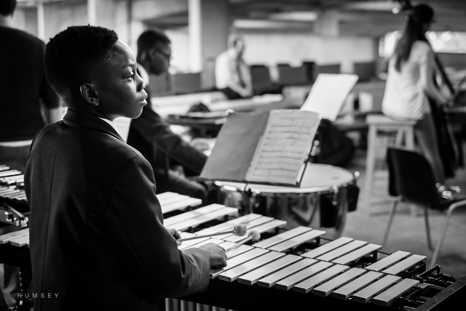 Young musician working with the Multi-Story Orchestra