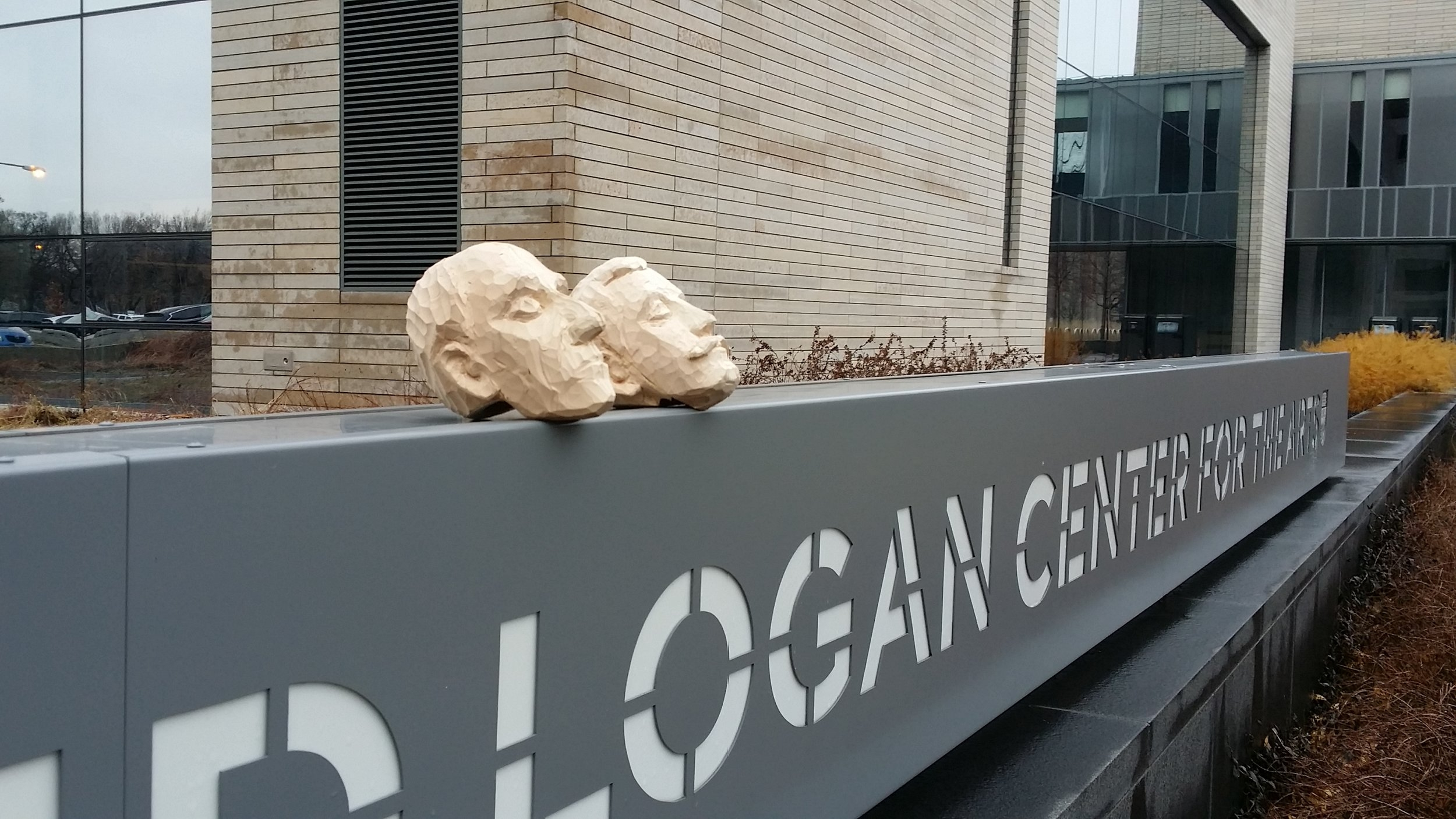 Wilbur and Orville's heads in process check out the Logan Center for the Arts.