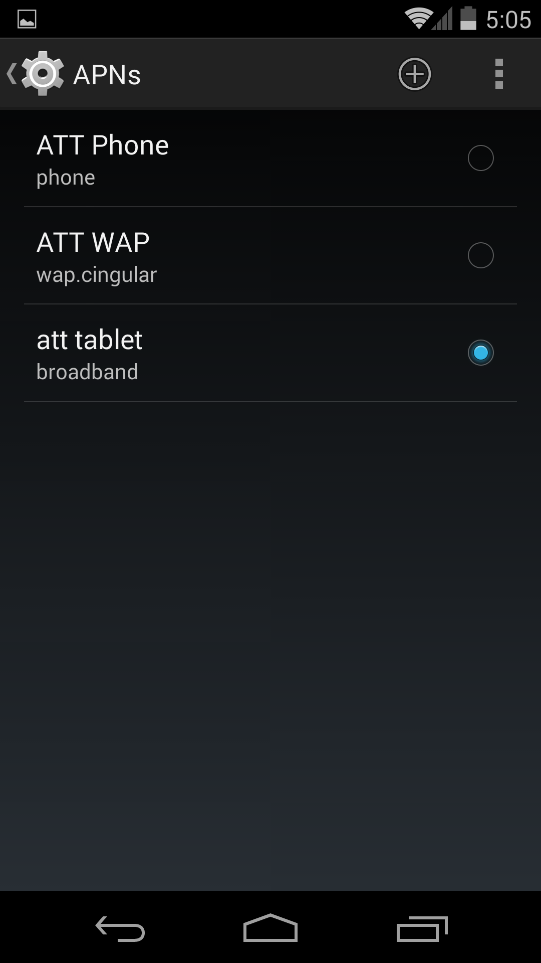 Android APN settings for AT&T data only cell plan
