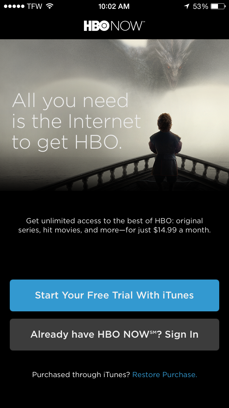 Watch HBO online with HBO Now on iPhone