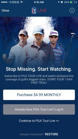 Watch PGA golf online live with the new Tour Live app