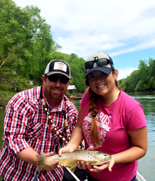 Jessica and I posed with her prize Brown Trout
