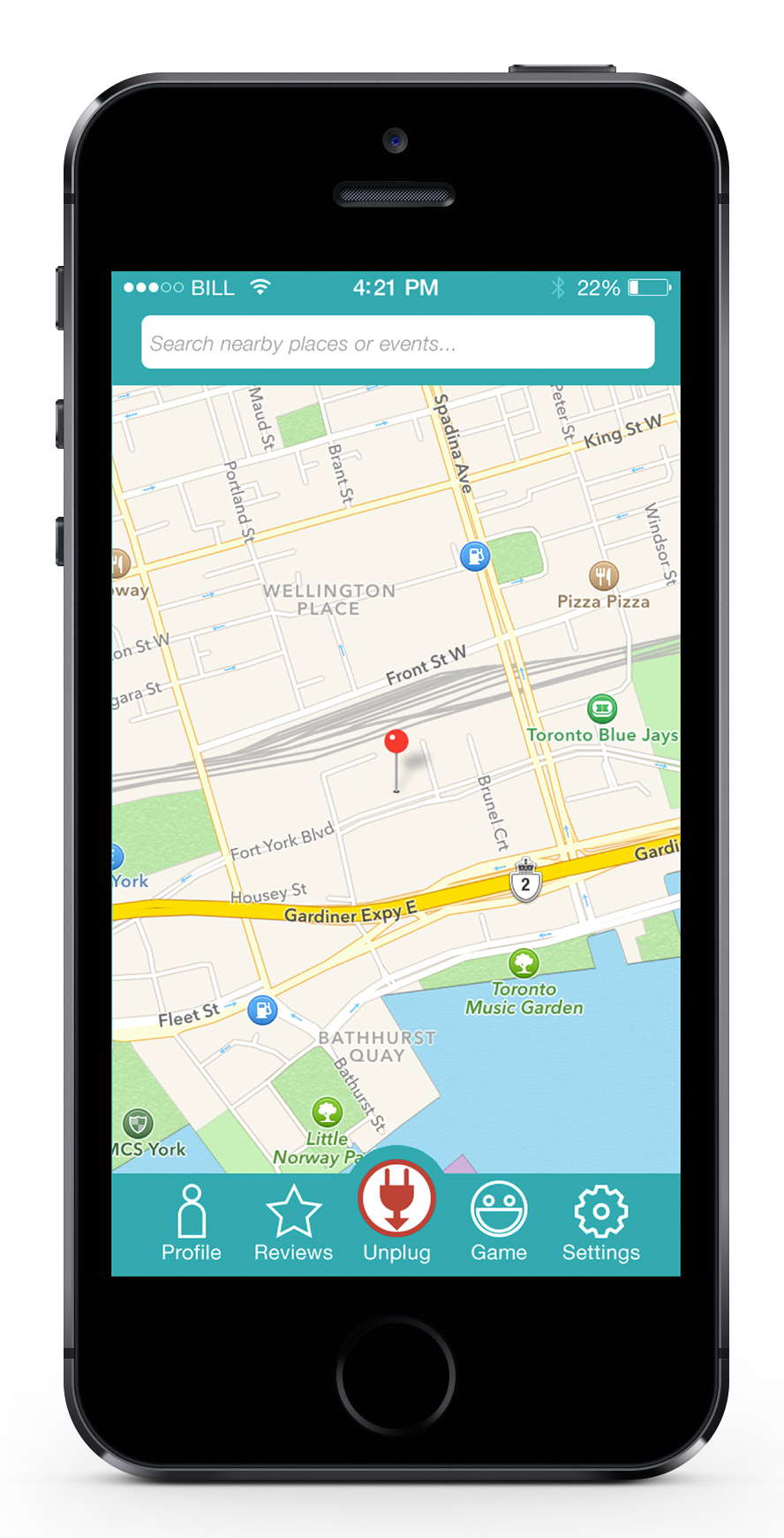 The app uses geolocation and what it knows about the user to recommend places and activities to go to.