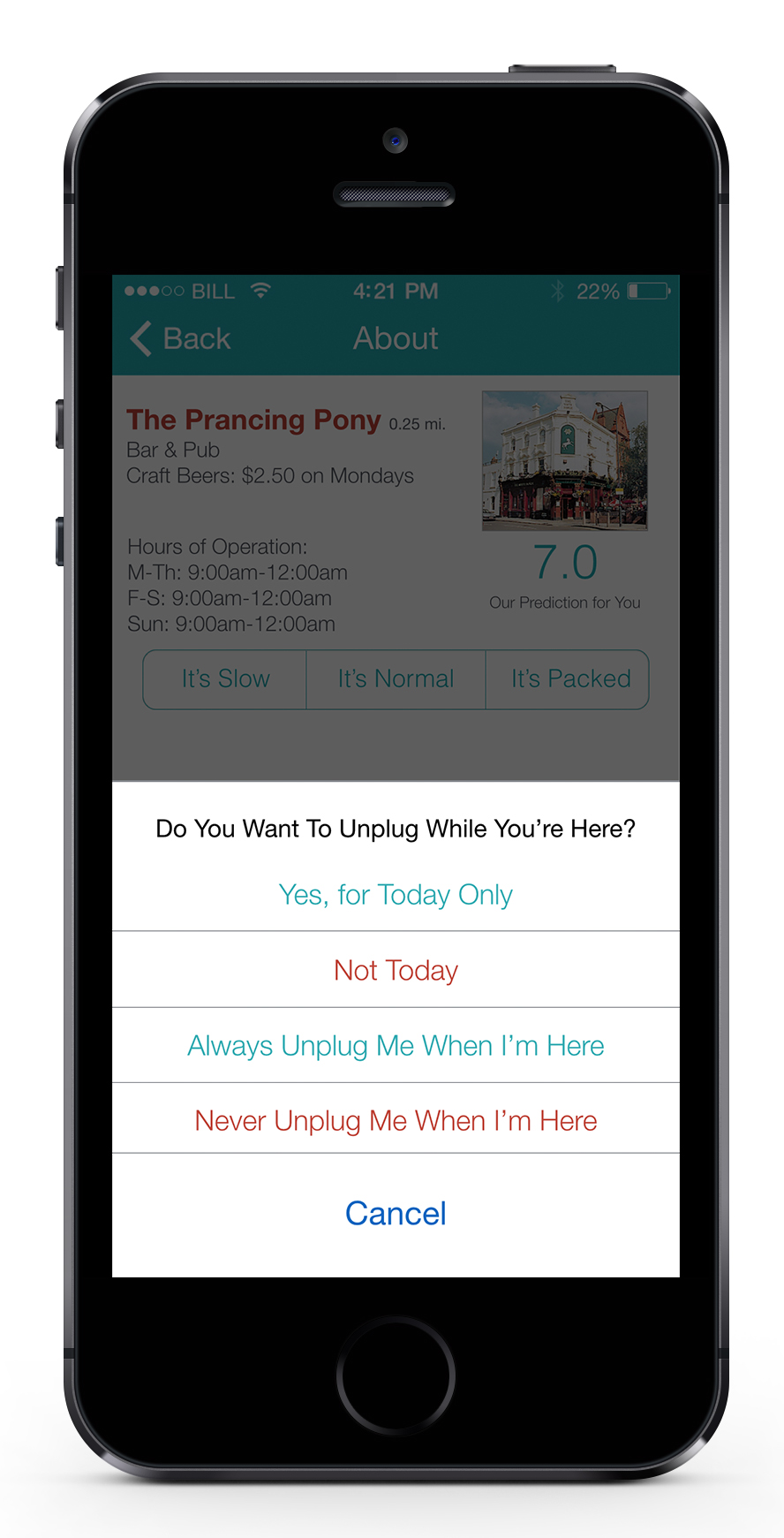 The app gives the user the option to control their unplug settings. If a user chooses to unplug while checked into a venue or event, the application will remind the user to put their phone away after five minutes of active smartphone use, while suggesting a recommendation via push notifications.