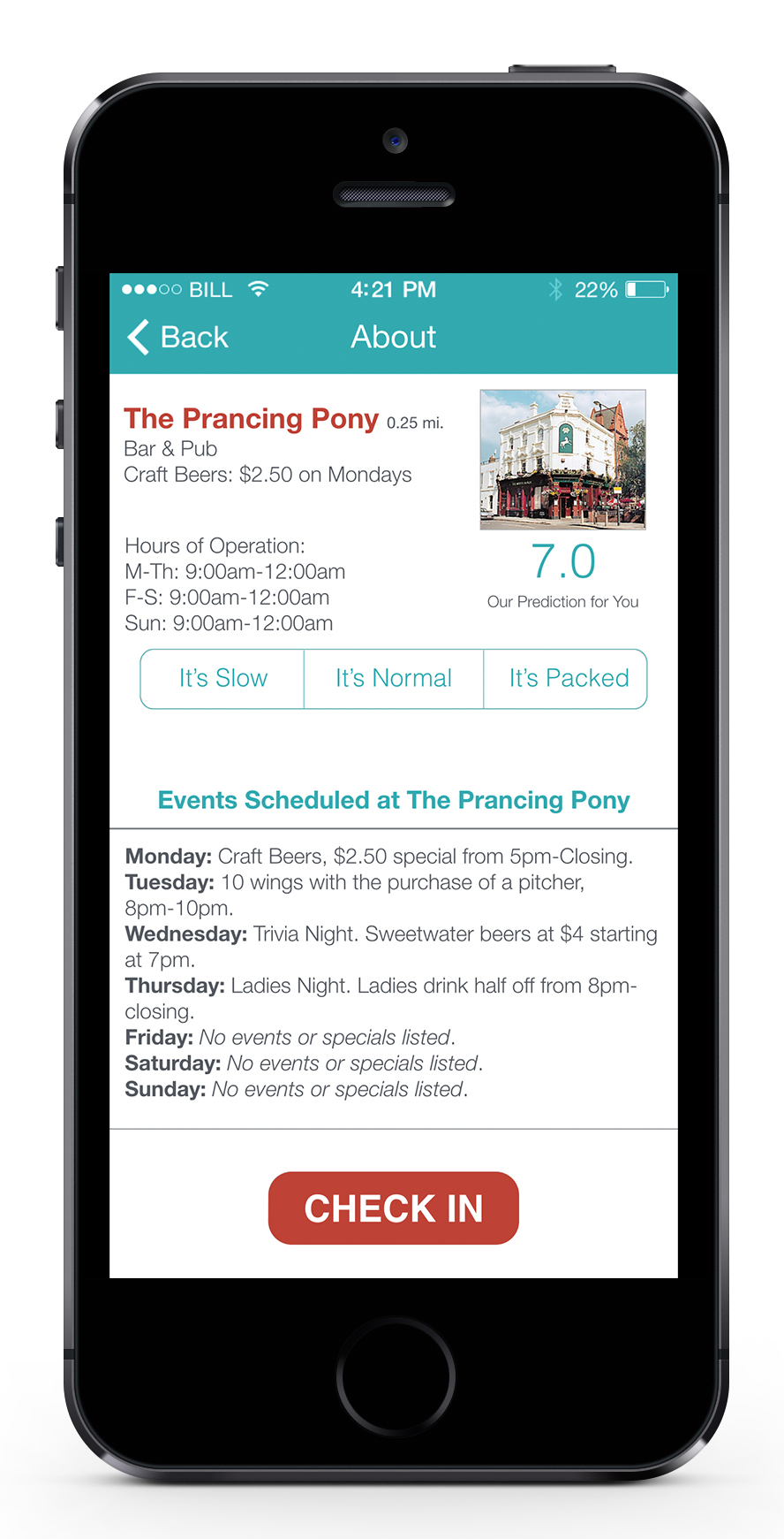 When the user checks into a venue or event, the application begins to measure the time the user spends on his or her phone, while making smart recommendations for interacting with people, such as: friends or mutual friends who are in the vicinity; drinks, meals, or activities to try; or nearby places to explore.