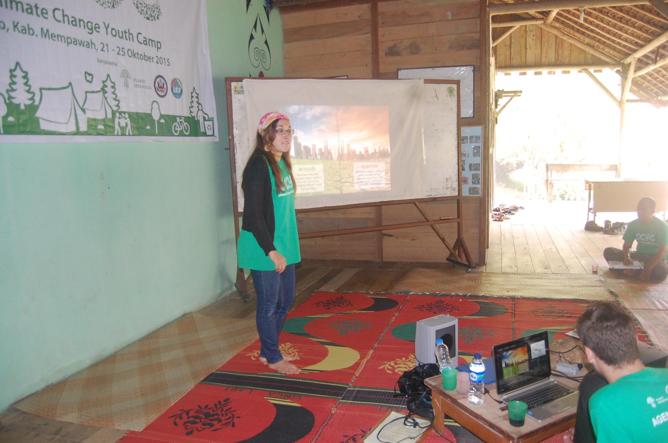 Erica Pohnan (Yayasan ASRI) teaching about Climate Change Mitigation and Adaptation