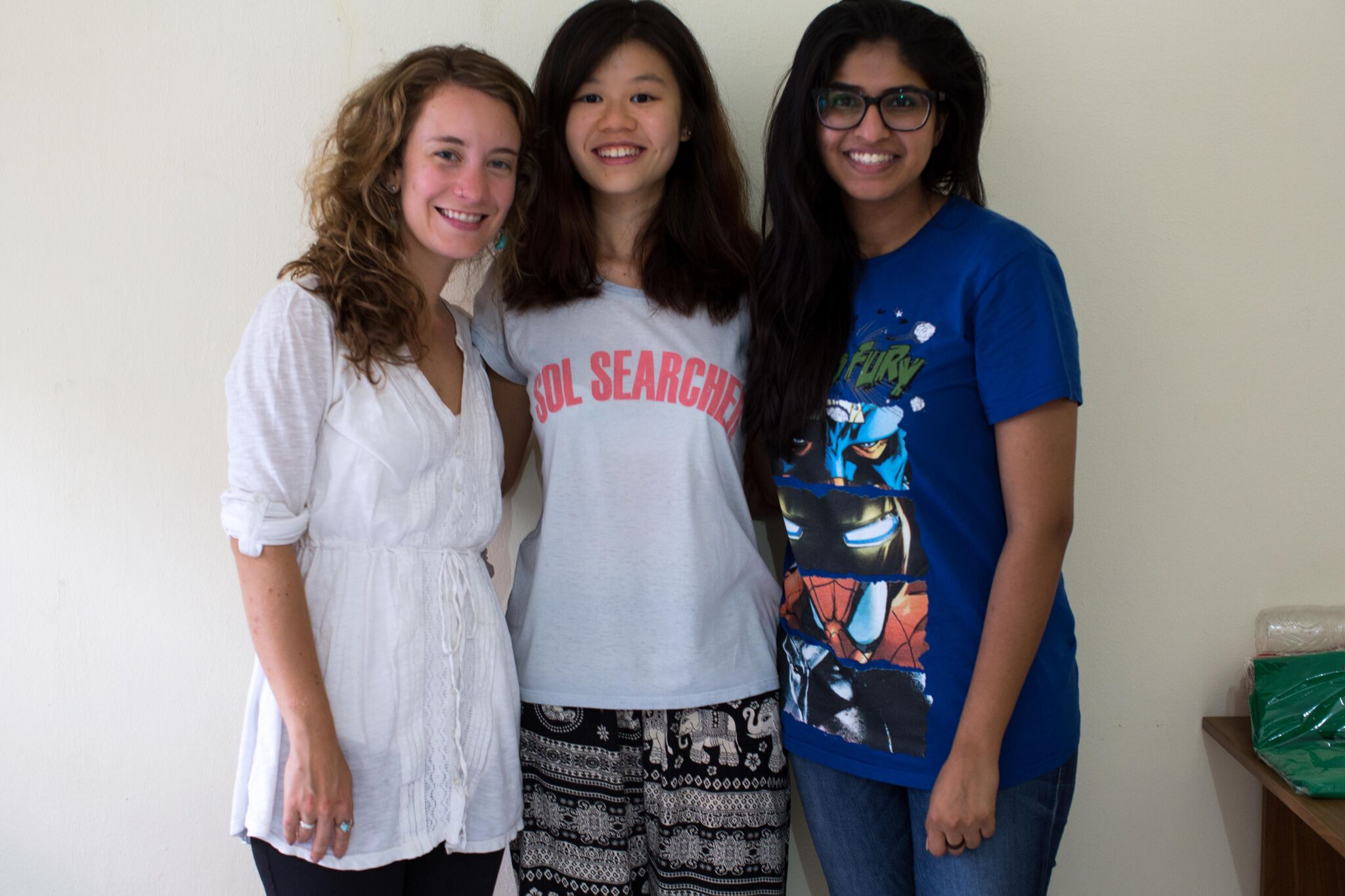 Last but not least, our international interns for 2016: Chelsea Call (left), Rachel Tan (middle), Saman Amir (right)