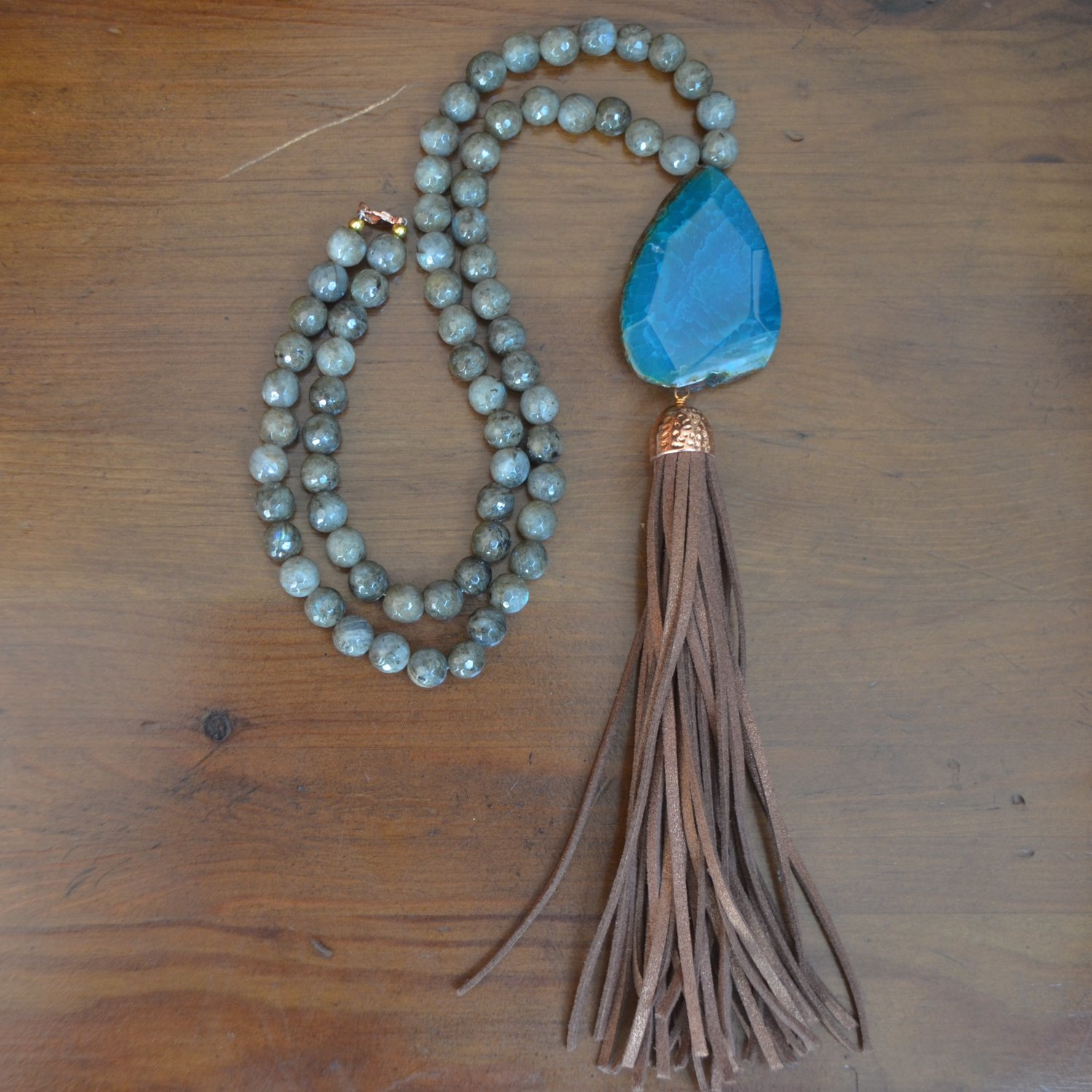 Giant Agate Prescott Tassel Necklace