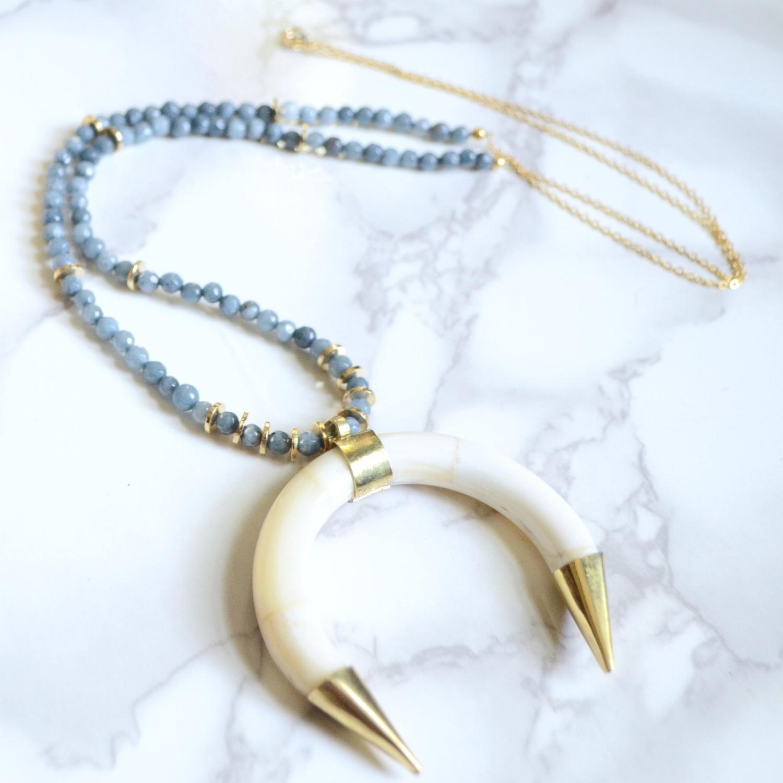 3 Strands Hematite beads necklace Unique OX Horn Pendant,CZ zircon Micro pave crystal Charm Boho necklaces for women NK152