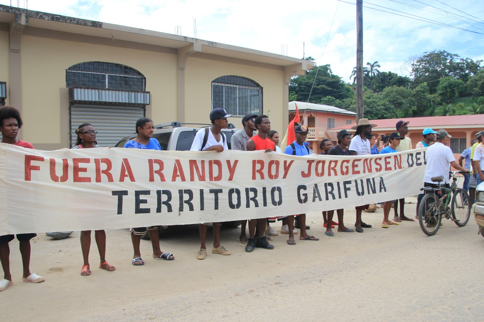"""Photo caption: Banner reads """"Randy Roy Jorgensen out of Garifuna territory."""" All photos by Karen Spring"""