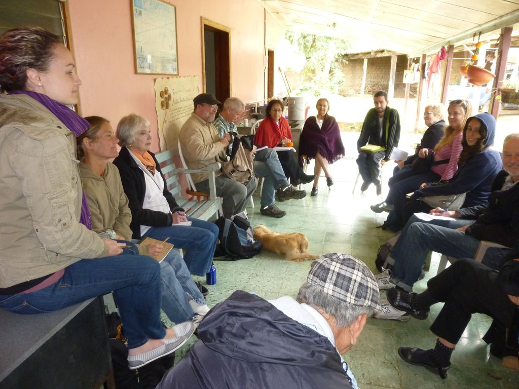A delegation visiting Austra Berta Caceres, the mother of indigenous leader Berta Caceres Flores, in her home in la Esperanza. 2012.