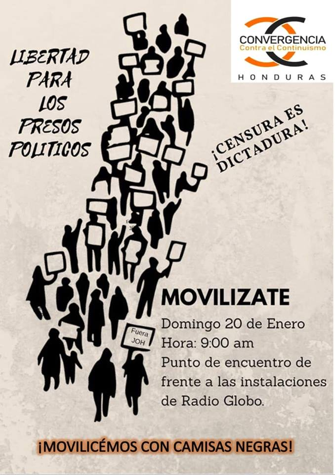 "Photo: ""Freedom for political prisoners. Censorship is what dictators do. Protest! January 20 at 10 am in front of Radio Globo (Tegucigalpa). Come wearing a black shirt!"""