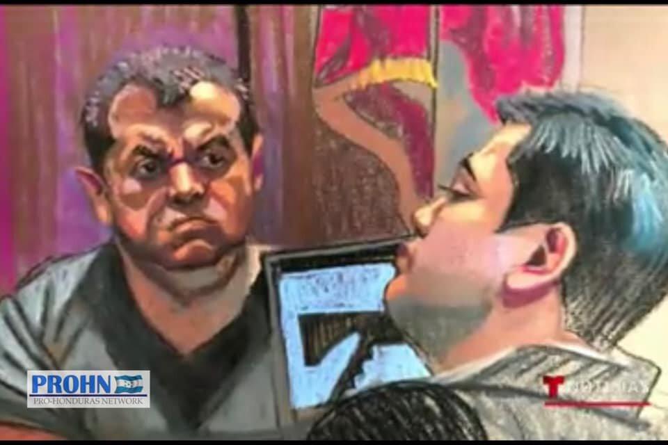 "Victor Hugo Diaz morales, alias ""El Rojo"" testifying against tony hernandez is the new york southern district court. Sketch published by TeleMundo."