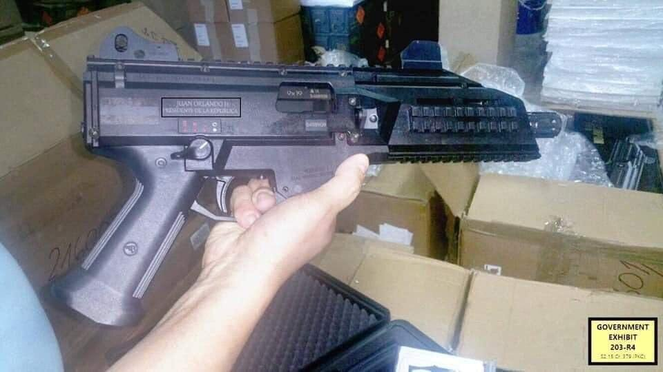 pictures of weapons with Honduran president Juan orlando hernandez's name engraved on them. These pictures were shown in the courtroom yesterday. see Day FOUR summary for more info