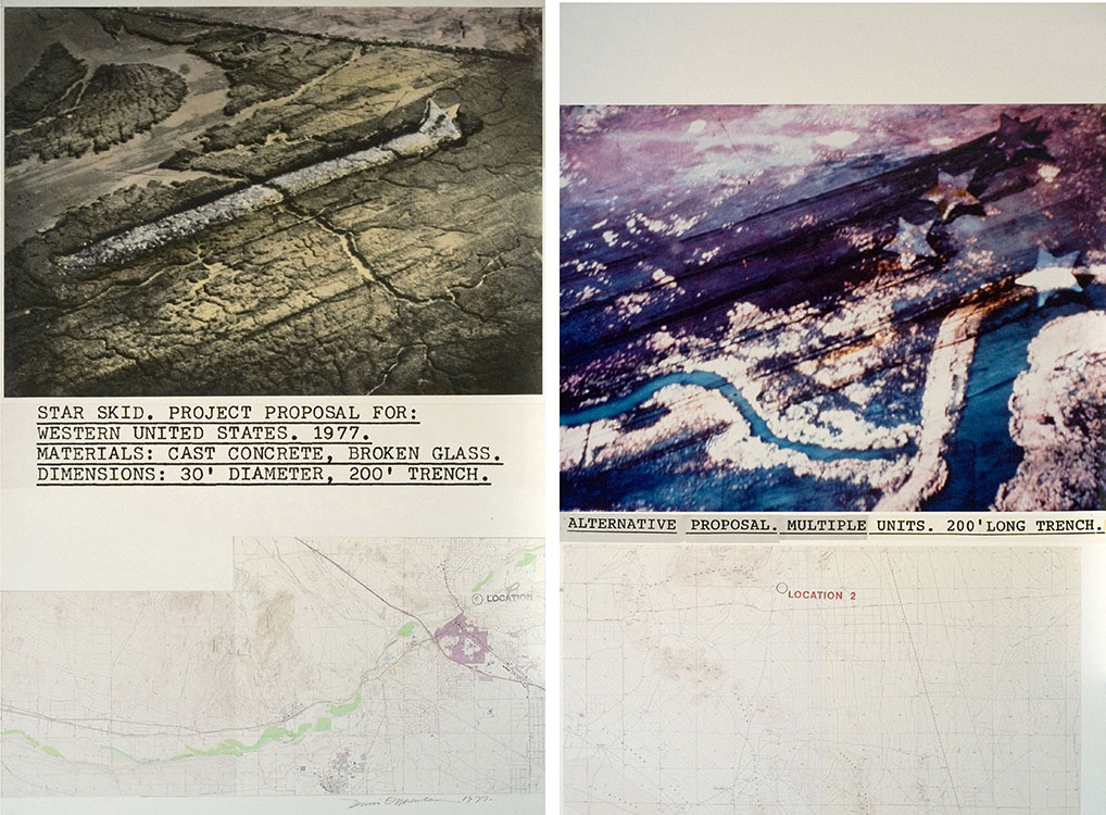 Star Skid , 1977 B&W and color photography, topographical map, handstamp |2 panels: 60 x 80 inches | HG2353