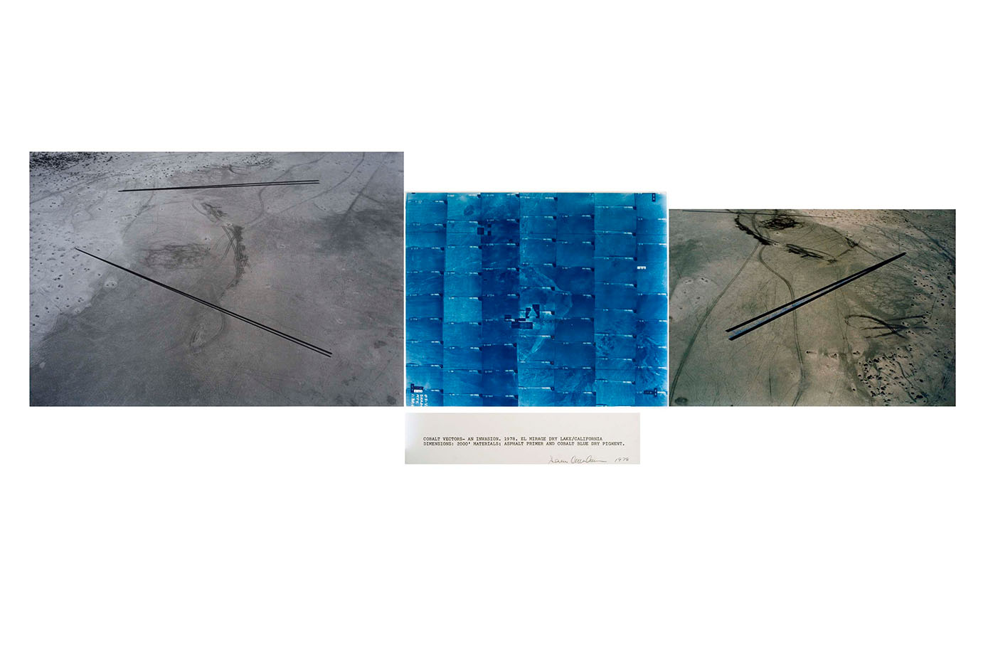 Cobalt Vectors-An Invasion , 1978 Color photography and text |4 panels: 50 x 137 inches | HG2354