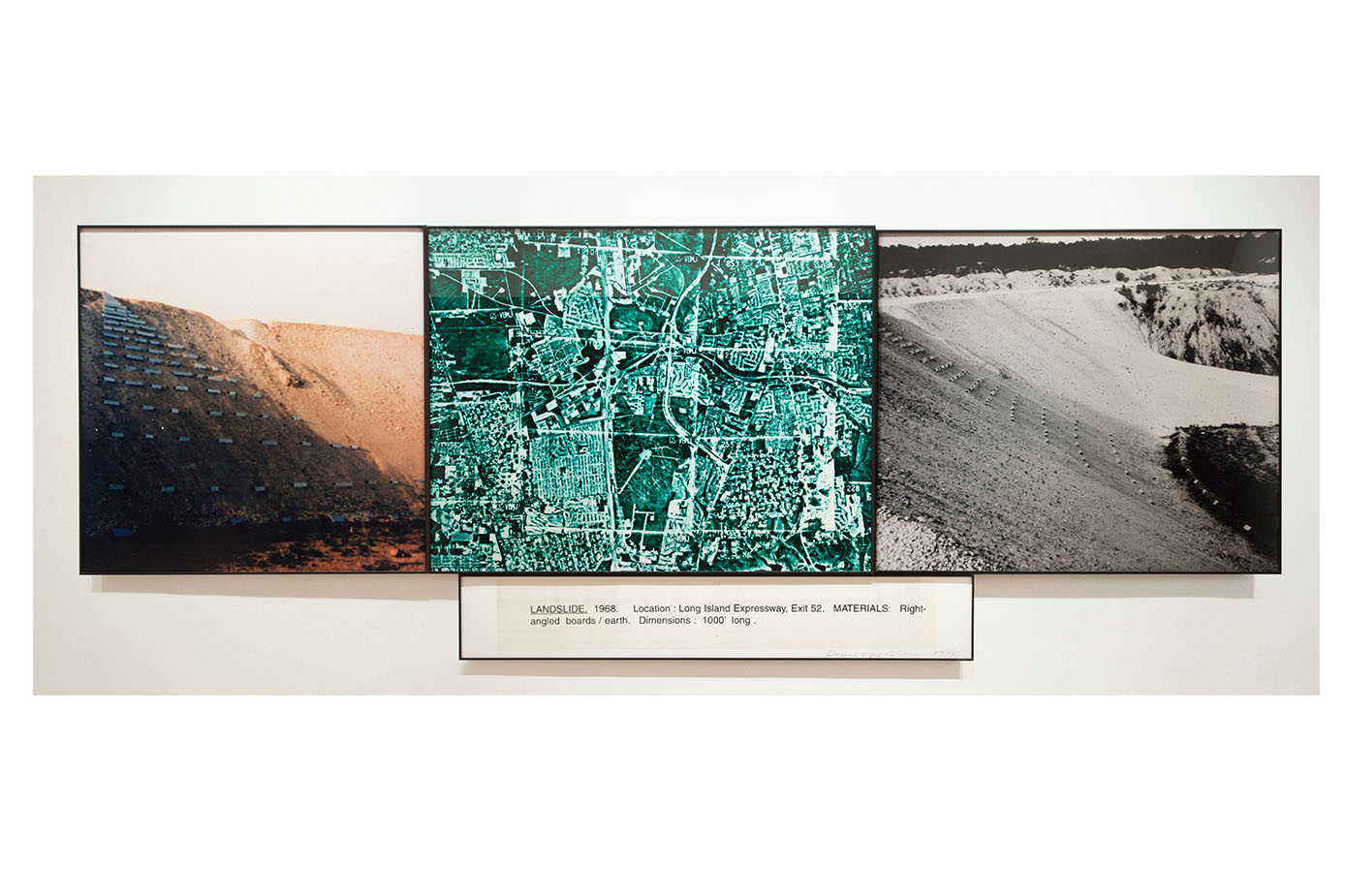 Landslide , 1968 Color photograph and text |4 panels: 50 x 139 inches | HG4907