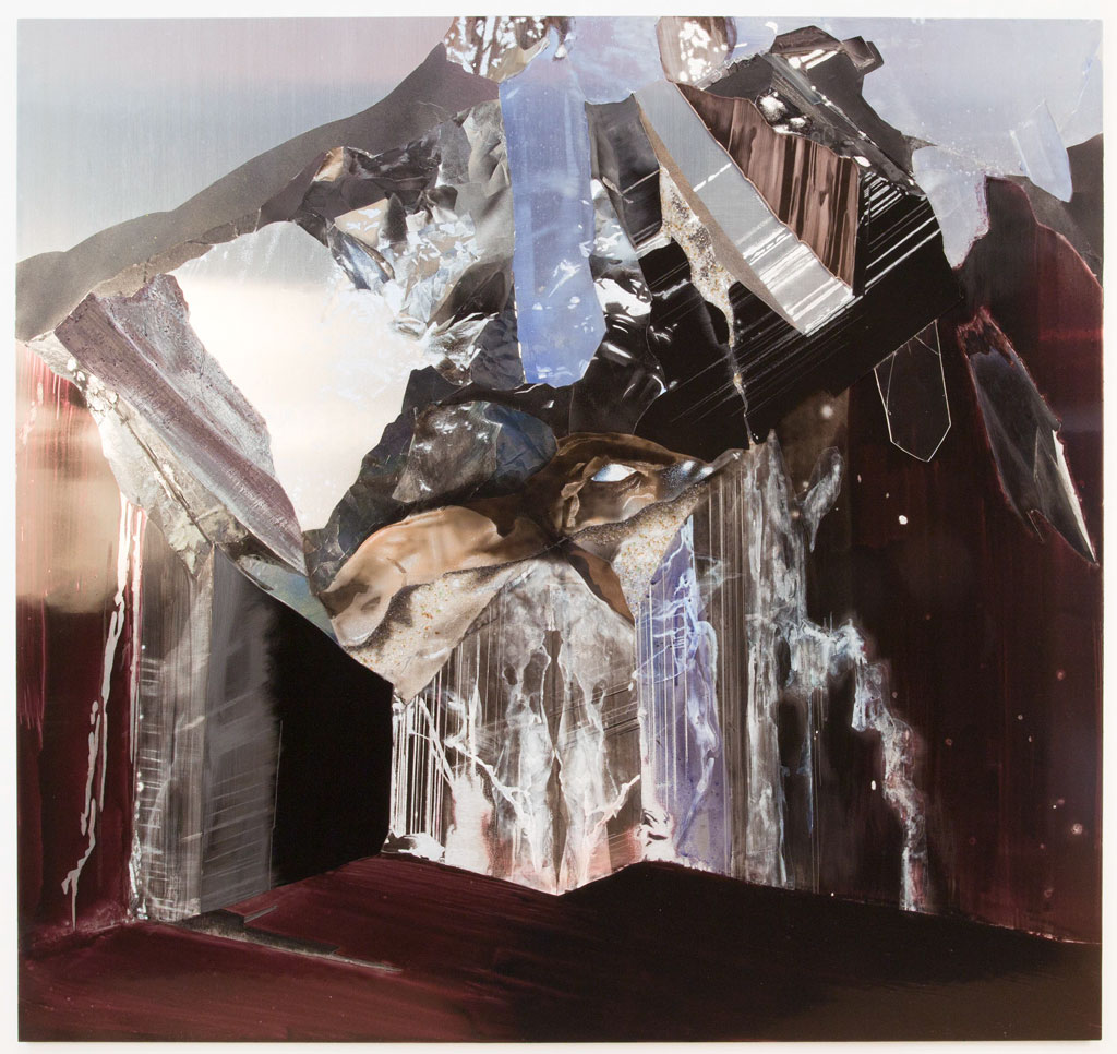 Face W , 2012 Ink, acrylic, paper, aluminum leaf, plastic, plexiglas, ground glass and engraving on aluminum   45 x 48 inches   11394