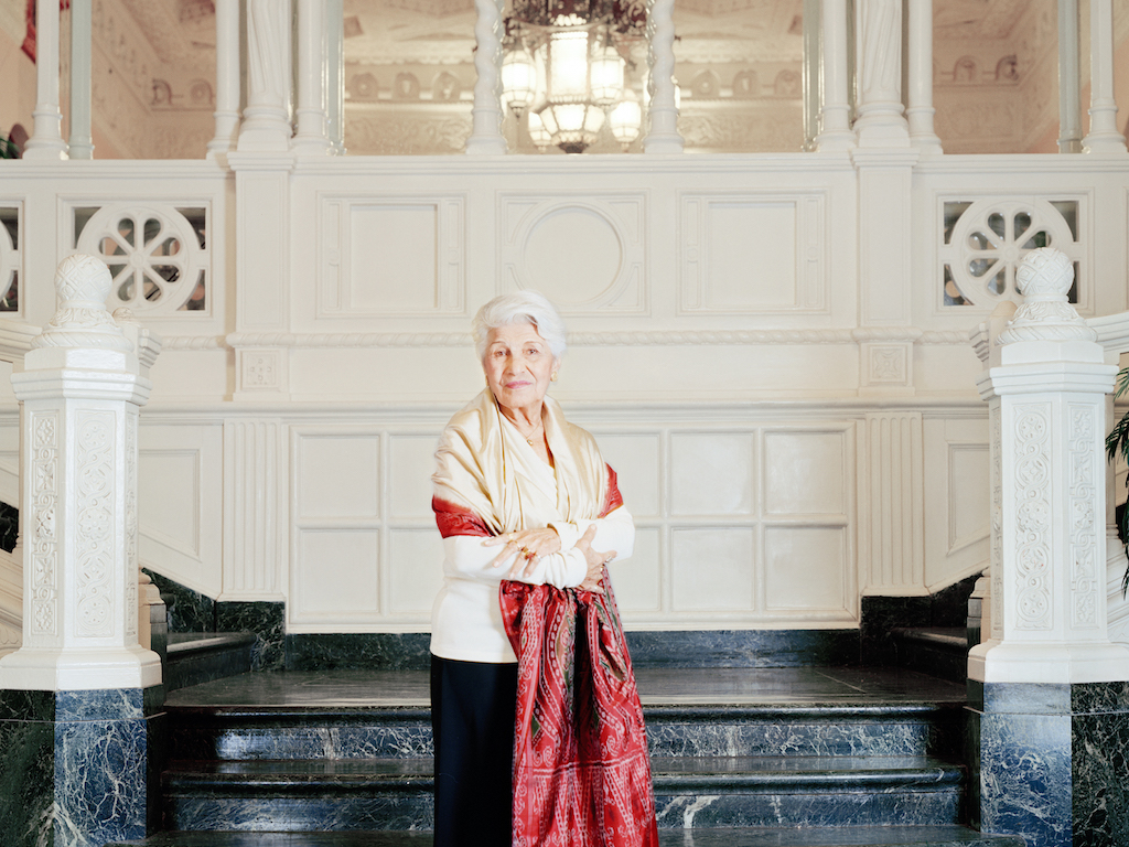 Monir Shahroudy Farmanfarmaian in the lobby of her apartment building, New York, 2010.