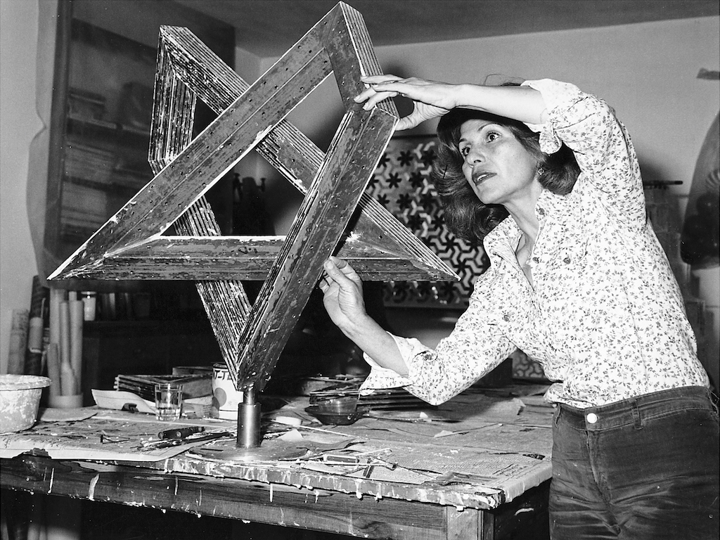 Monir Shahroudy Farmanfarmaian working in her studio in Tehran, 1975.