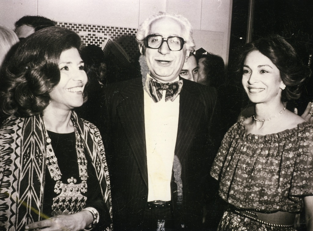 Monir Shahroudy Farmanfarmaian with her husband Abol Bashar Farmanfarmaian and a friend (right) at the opening of Monir's solo exhibition at Galerie Denise Rene, Paris, 1977.
