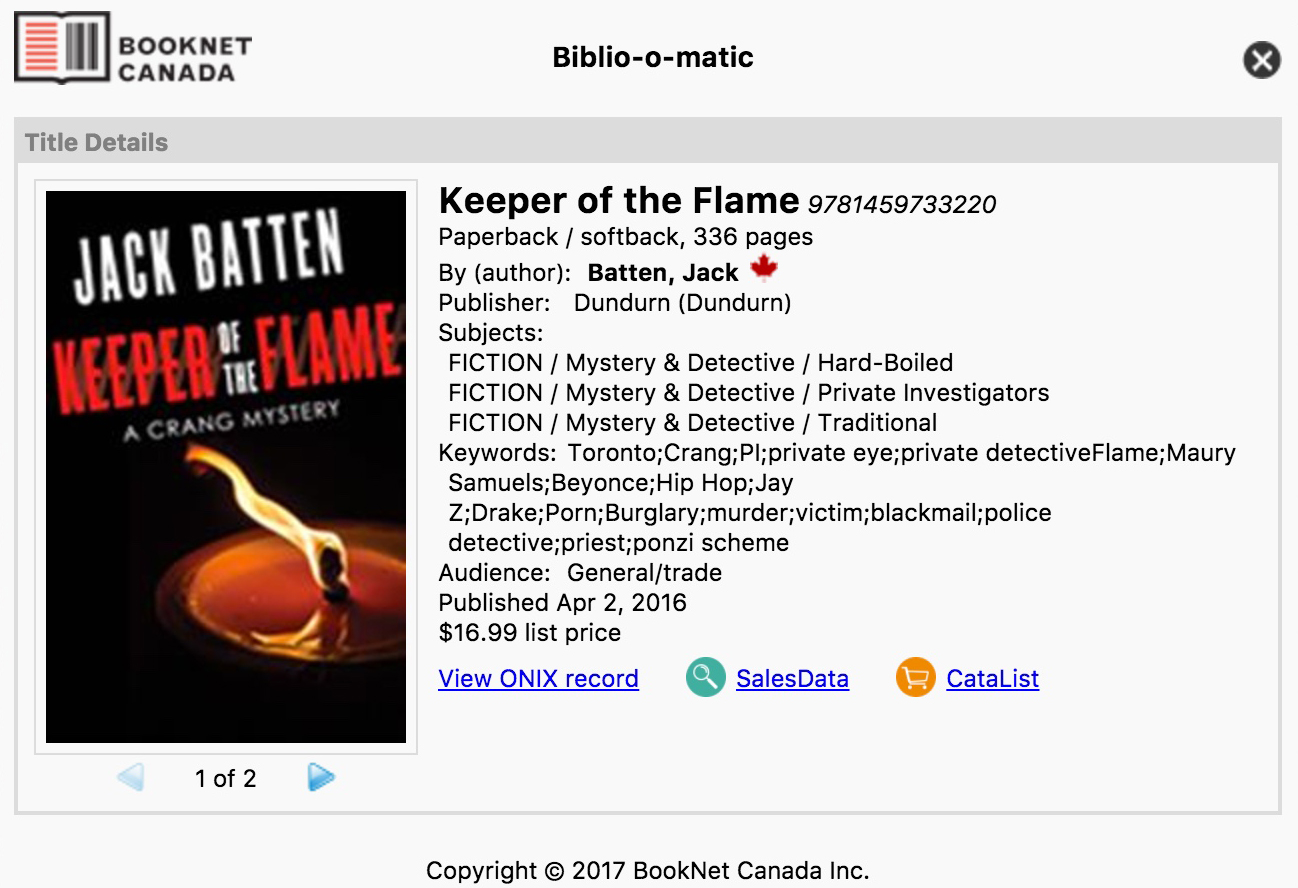 Bibliographic data for the book Keeper of the Flame, including keywords.