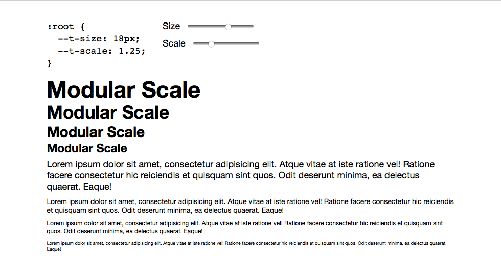 Thanks to CSS custom properties and the calc() function, you can use a modular scale to compute your elements' font size automatically.