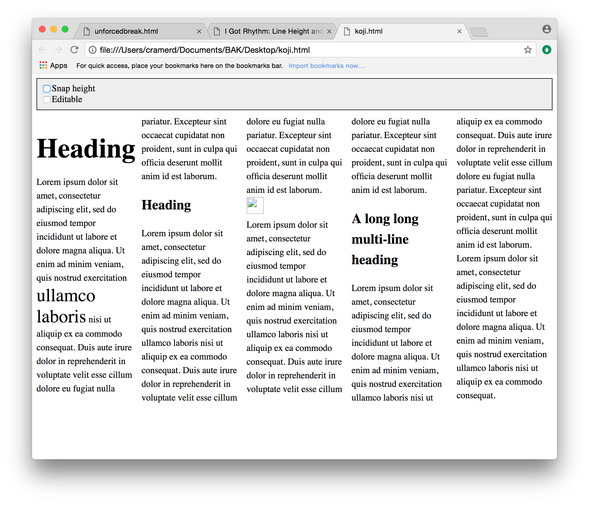 Example 6:multi-column text with heads and images, poorly aligned