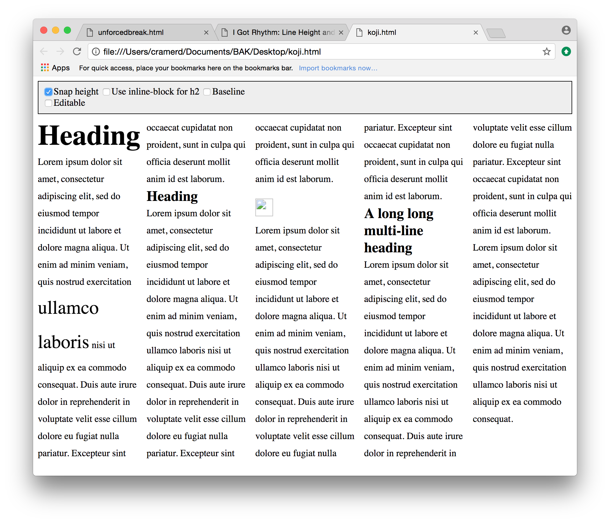 Example 7:multi-column text with heads and images, aligned