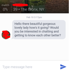 Screen cap of dating site message.