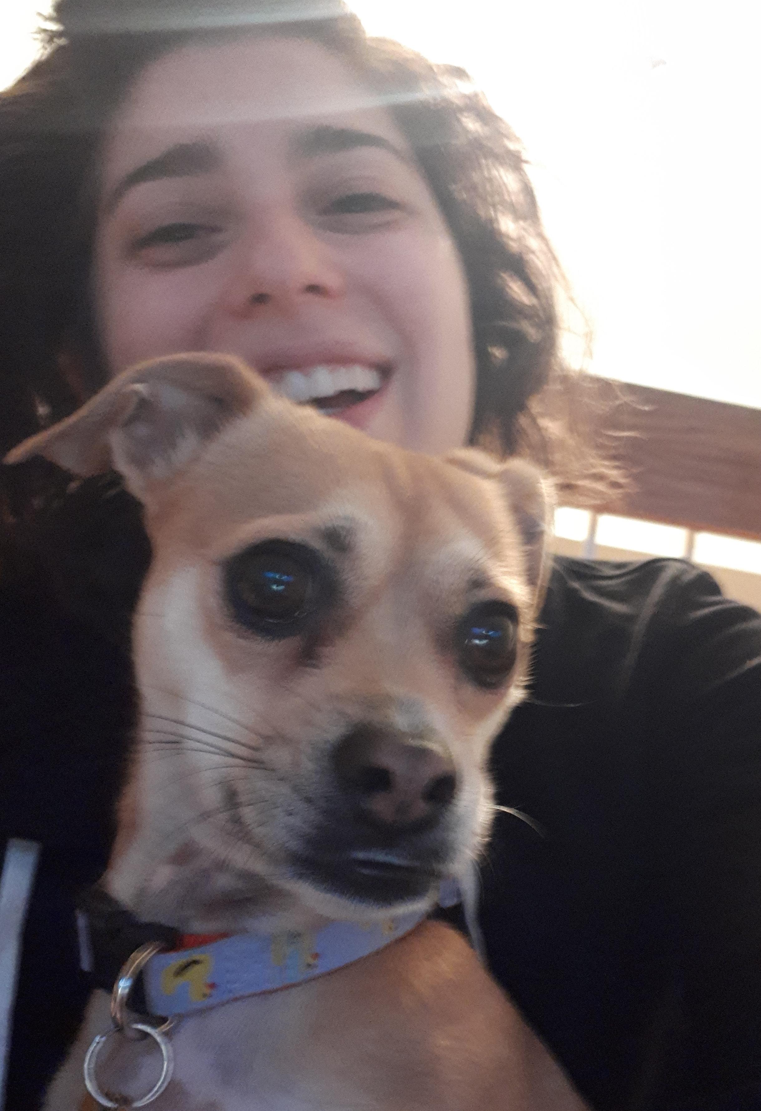 Photo of Shimona and Meg, the dog.