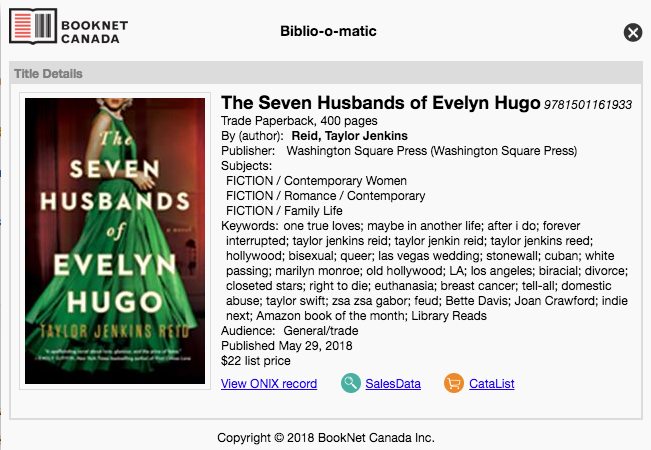 The Seven Husbands of Evelyn Hugo  by Taylor Jenkins Reid on  Biblio-o-matic .