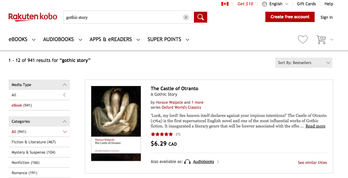 """Screen showing search results for """"gothic story"""" on Kobo.com.  The Castle of Otranto  is the first result."""