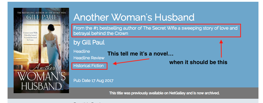 Another Woman's Husband: From the #1 bestselling author of The Secret Wife a sweeping story of love and betrayal behind the Crown.  The category of the book, historical fiction, tells us it's a novel, when it should be the subtitle that does that work.
