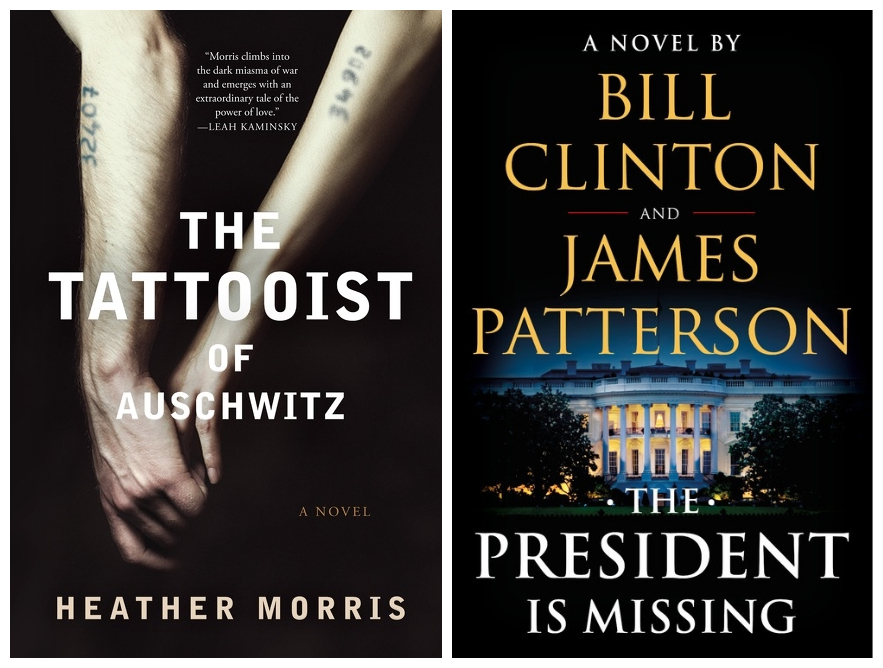Cover images for The Tattooist of Auschwitz and The President is Missing.