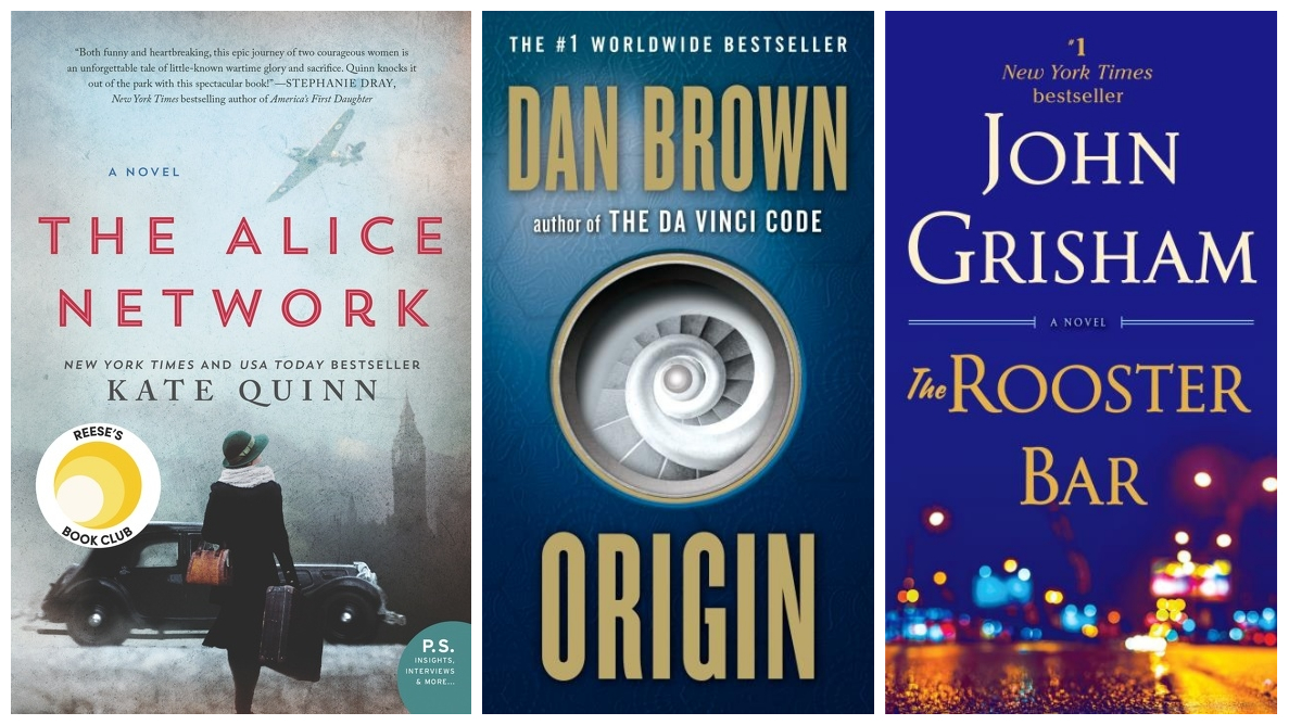Cover images for The Alice Network, Origin, and The Rooster Bar.
